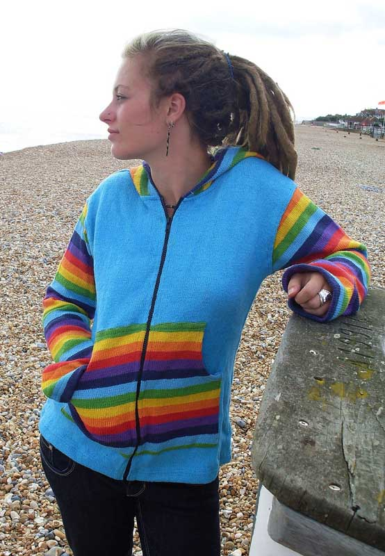 Rainbow & Plain Cotton Jacket - Turquoise