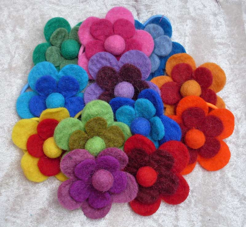 Felt Flower Hair Bands - PACK OF 10