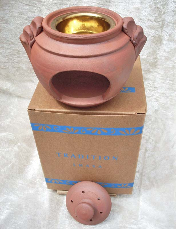 Terracotta Lhasa Incense Burner - Free Charcoal