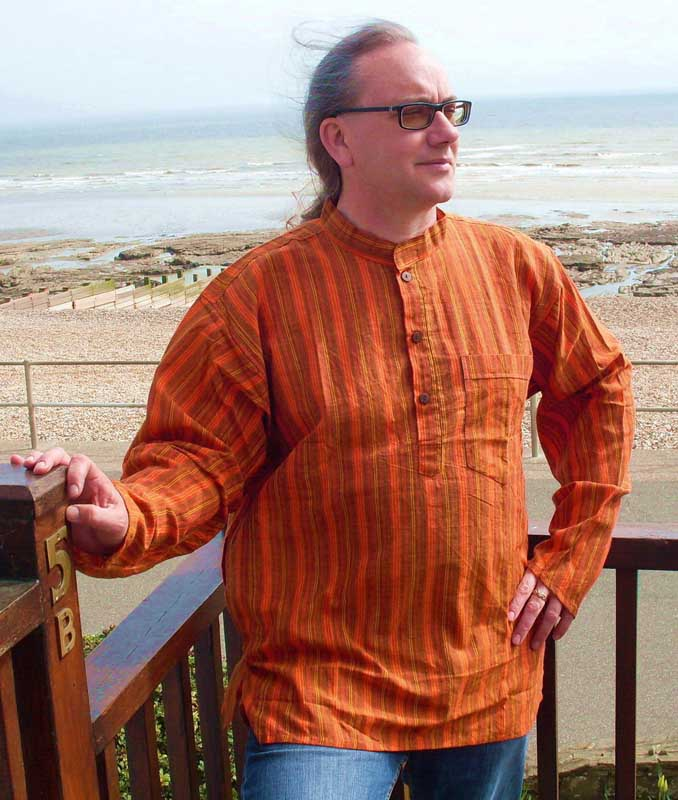 Nepalese Cotton Shirt Orange/Mustard/Gold