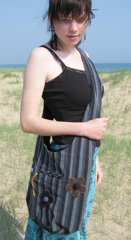 Beach Bag Striped - Charcoal