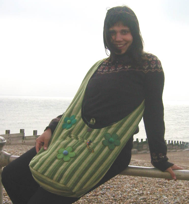 Beach Bag Striped - Green